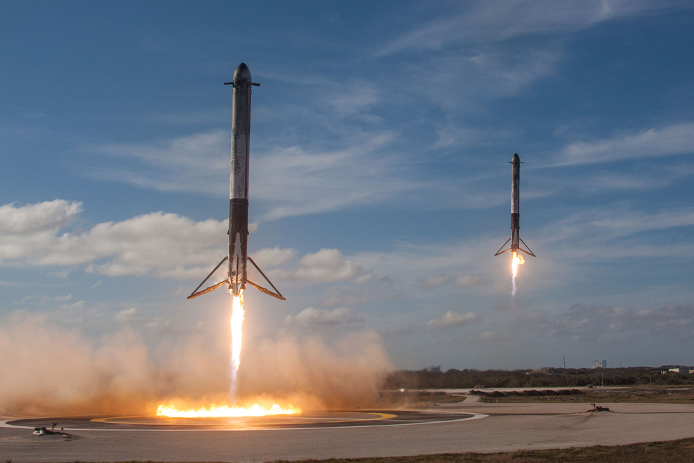 SpaceX side booster landings